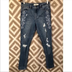 Hollister High Rise Skinny Embroidered Ripped Jean